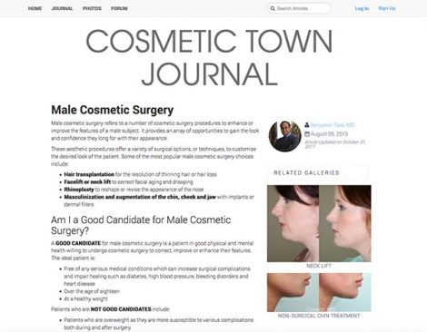 COSMETIC TOWN JOURNAL Male Cosmetic Surgery