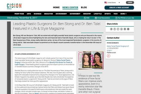 Leading Plastic Surgeons Dr. Ben Stong and Dr. Ben Talei Featured in Life & Style Magazine