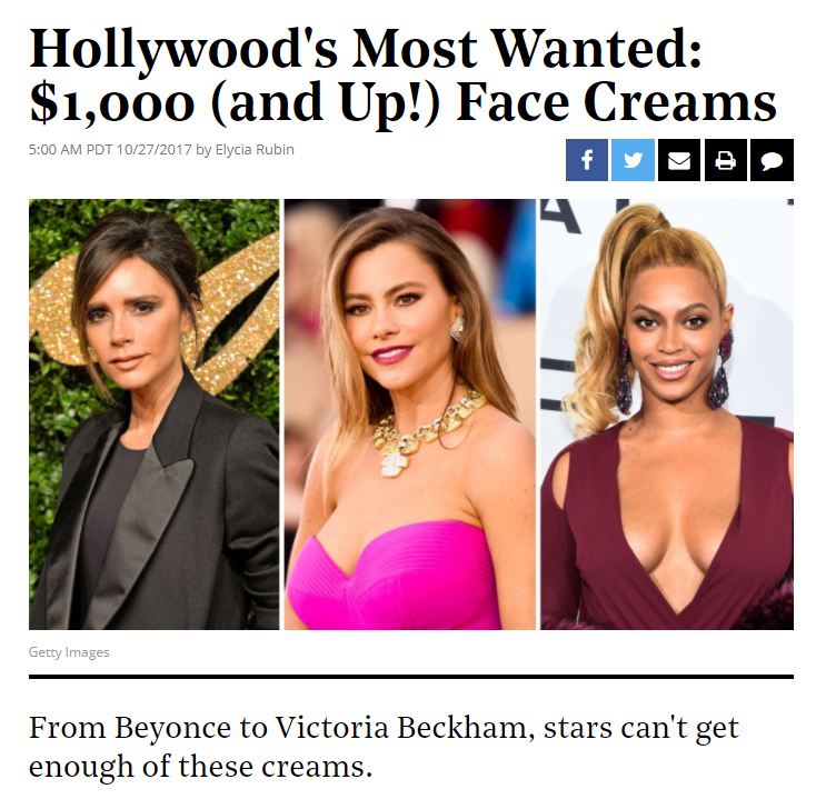Screenshot of article: Hollywood's Most Wanted: $1,000 (and Up!) Face Creams