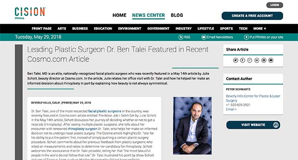 Leading Plastic Surgeon Dr. Ben Talei Featured in Recent Cosmo.com - screenshot of the article