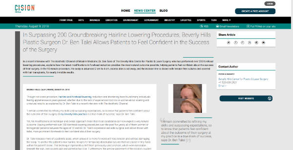 In Surpassing 200 Groundbreaking Hairline Lowering Procedures, Beverly Hills Plastic Surgeon Dr. Ben Talei Allows Patients to Feel Confident in the Success of the Surgery - screenshot of the article
