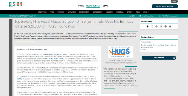 Top Beverly Hills Facial Plastic Surgeon Dr. Benjamin Talei Uses His Birthday to Raise $26,880 for HUGS Foundation - screenshot of the article