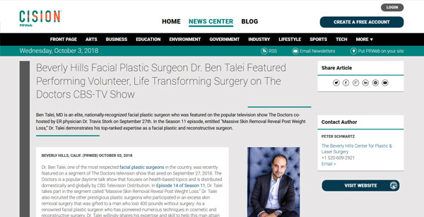 Beverly Hills Facial Plastic Surgeon Dr. Ben Talei Featured Performing Volunteer, Life Transforming Surgery on The Doctors CBS-TV Show