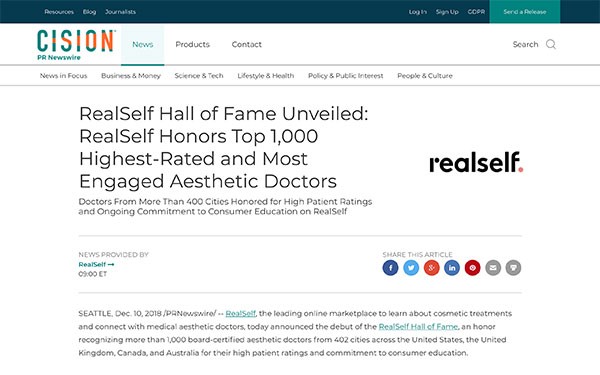 Screenshot of Cision article - RealSelf Honors Top 1,000 Highest-Rated and Most Engaged Aesthetic Doctors.