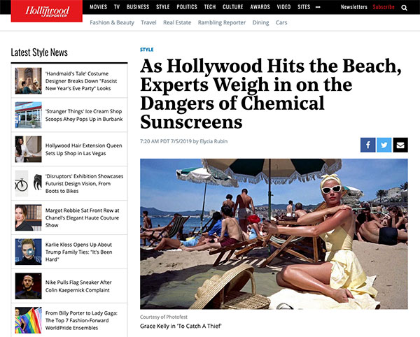 AuraSpa's Jennifer Hollander Discusses Chemical Sunscreens with The Hollywood Reporter