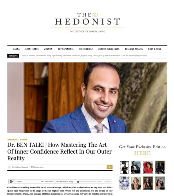 Screenshot of article: Dr. BEN TALEI | How Mastering The Art of Inner Confidence Reflect in Our Outer Reality