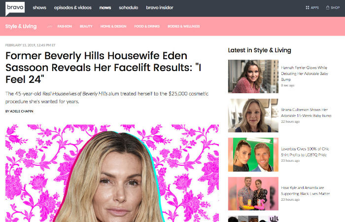 Screenshot of an article - Former Beverly Hills Housewife Eden Sassoon Reveals Her Facelift Results I Feel 24