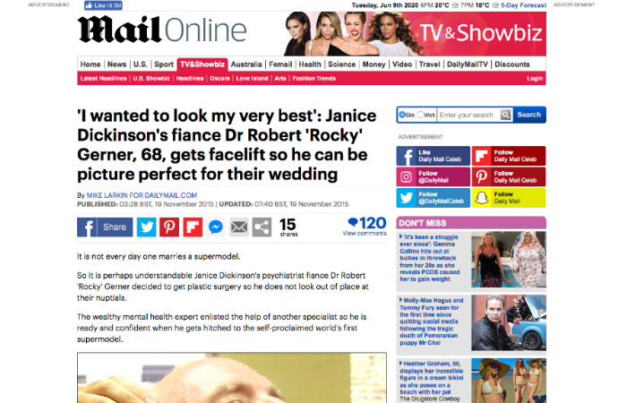 Screenshot of an article - Janice Dickinson's elderly fiance gets pre-wedding facelift
