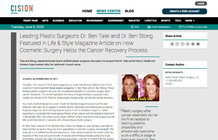 Screenshot of an article Leading Plastic Surgeons Dr. Ben Talei and Dr. Ben Stong Featured in Life & Style Magazine Article on How Cosmetic Surgery Helps the Cancer Recovery Process