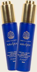 two aurasilk bottles
